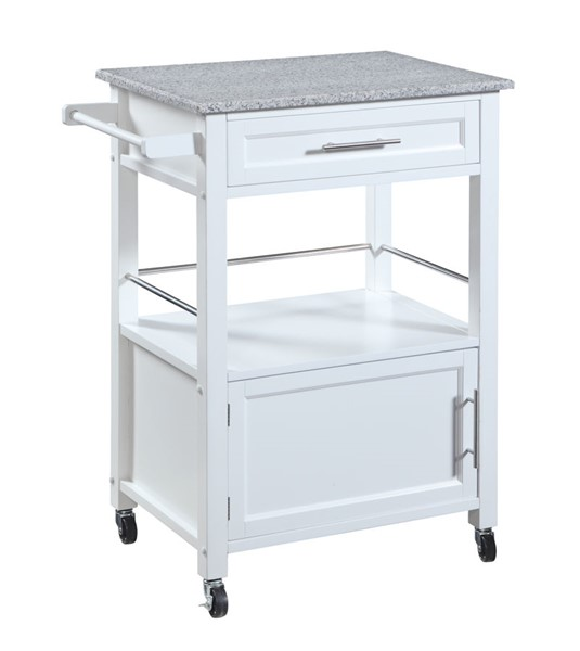 Mitchell Classic White MDF Granite Top Kitchen Cart LN-464808WHT01U