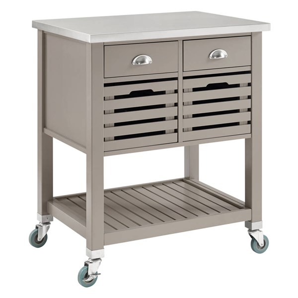 Robbin Transitional Gray Wood MDF Stainless Steel Kitchen Cart LN-464810GRY01U