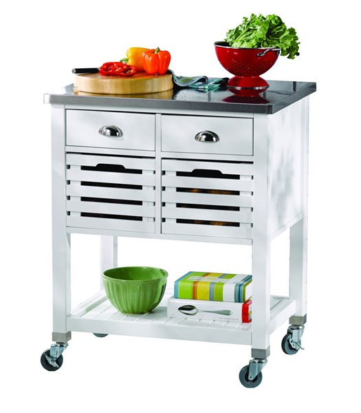 Linon Robbin White Kitchen Cart LN-464810WHT01U