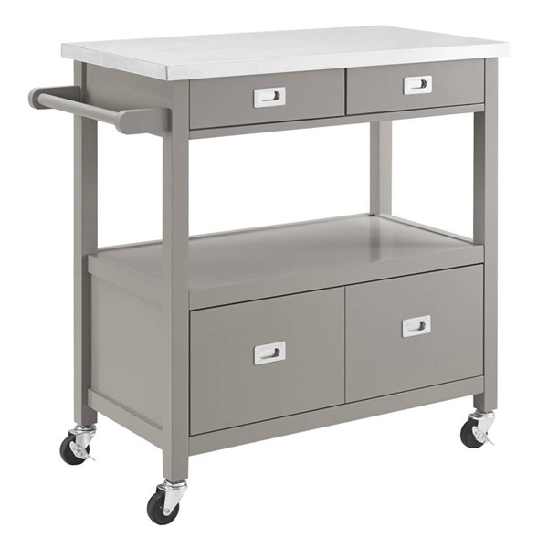 Sydney Gray Pine Wood Stainless Steel Caster Kitchen Cart LN-464917GRY01U