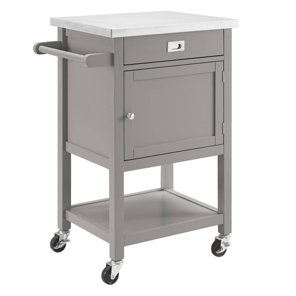 Sydney Gray Pine Wood Stainless Steel Caster Apartment Cart LN-464918GRY01U