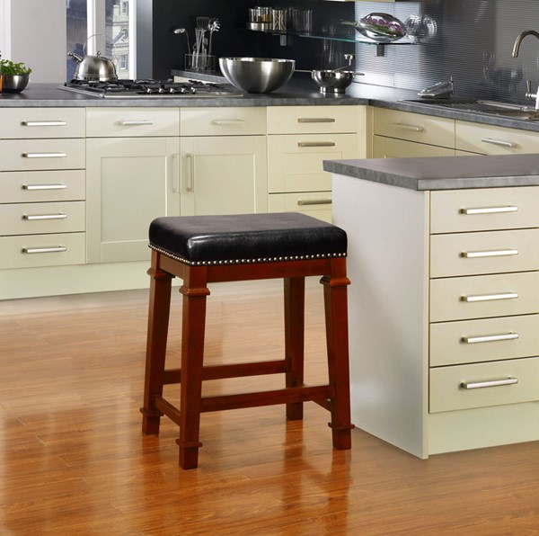 Kennedy Black PU Cherry Solid Wood Backless 24 Inch Counter Stool LN-558121DKCHY01U
