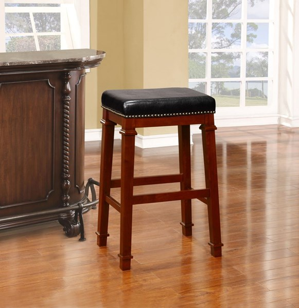 Kennedy Wood PU Backless Nailheads Bar Stools LN-558122-01U-VAR