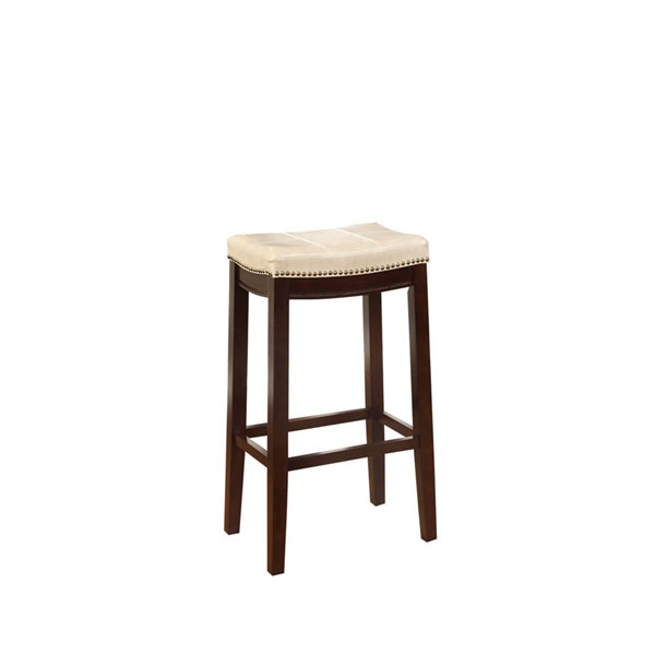 Claridge Jute Dark Brown Solid Wood CA Foam PU Bar Stool LN-55816JUTE01U