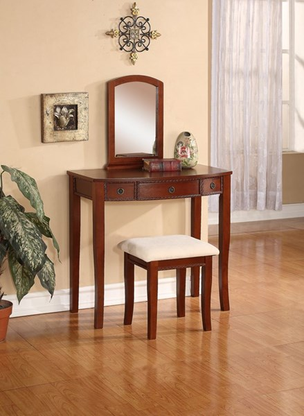 Molly Traditional Off White Cherry MDF Solid Wood Vanity Set LN-58028CHY-01-KD-U