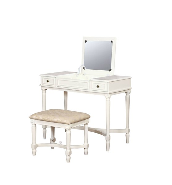 Cyndi Traditional Beige White Solid Wood MDF Fabric Vanity Set LN-580457WHT01U