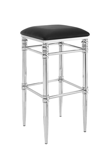 Regent Contemporary Black Chrome Metal CA Foam Semi PU Bar Stool LN-640036MTL01U