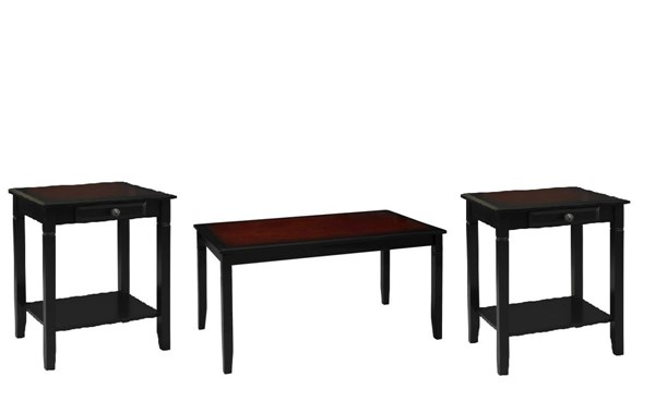 Camden Transitional Wood MDF Coffee Table Set LN-6402BLKCHY-OCT