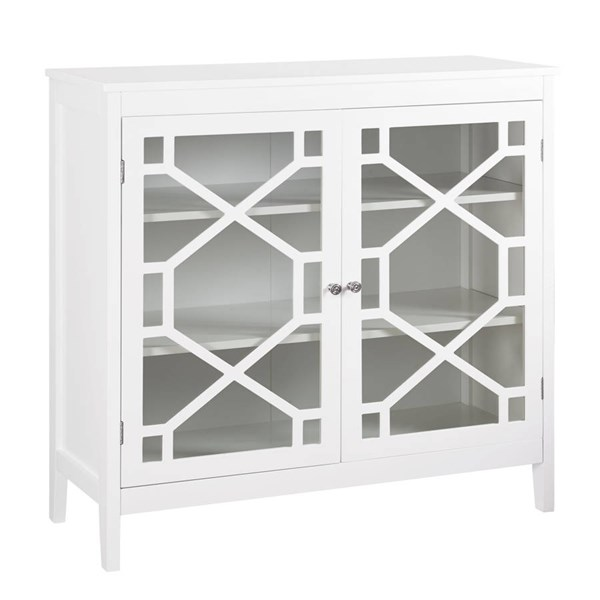Fetti White MDF Tempered Glass Large Cabinet LN-650210WHT01U