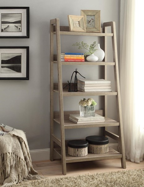 Tracey Transitional Gray MDF 3D Paper Ladder Bookcase LN-69336GRY01U