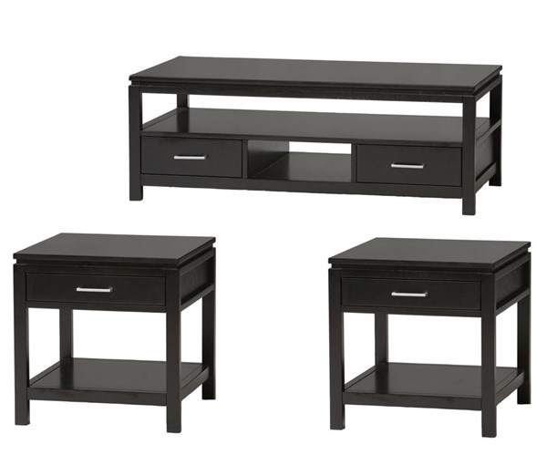 Sutton Contemporary Black Rubberwood MDF 3pc Coffee Table Set LN-84028BLK-01-KD-U-OCT-S1
