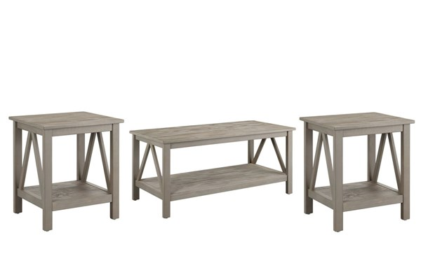 Titian Rustic Gray Pine Coffee Table Set LN-86151GRY-OCT