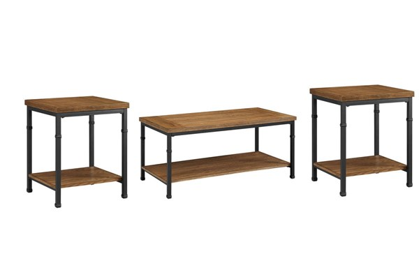 Austin Black Ash MDF Particle Board Metal Coffee Table Set LN-86225-OCT
