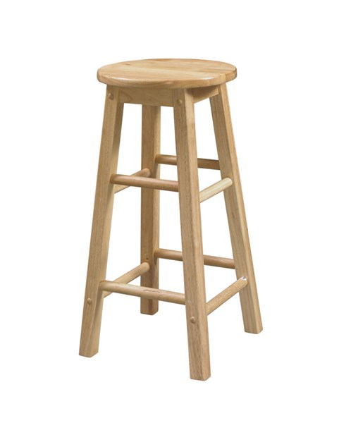 Contemporary Wood Counter Stools w/Round Seat LN-9810NAT-01-KD-VAR