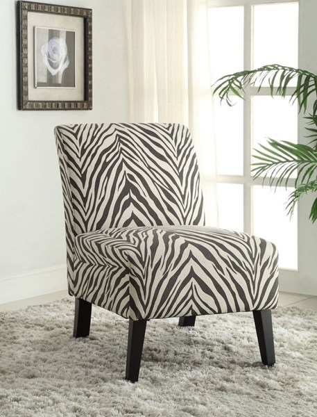 Linen Dark Walnut Eucalyptus Wood Fabric Zebra Lily Chair LN-98320ZEB01U
