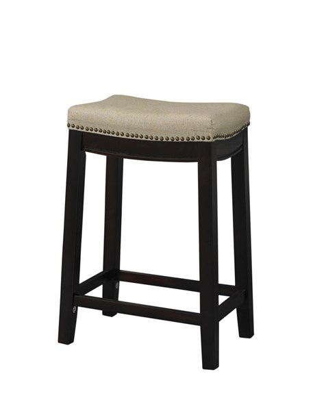 Allure Dark Walnut Wood Fabric Nailheads Stools LN-9832WAL-01-KD-VAR