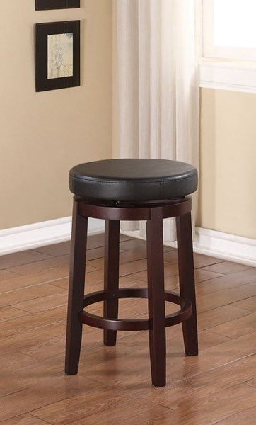 Maya Transitional Black Vinyl Brown Hardwoods 24 Inch Counter Stool LN-98352KBLK-01-KD