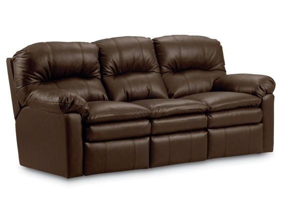 Touchdown Transitional Brown Leather Power Double Reclining Sofa LNF-292-59-01-20