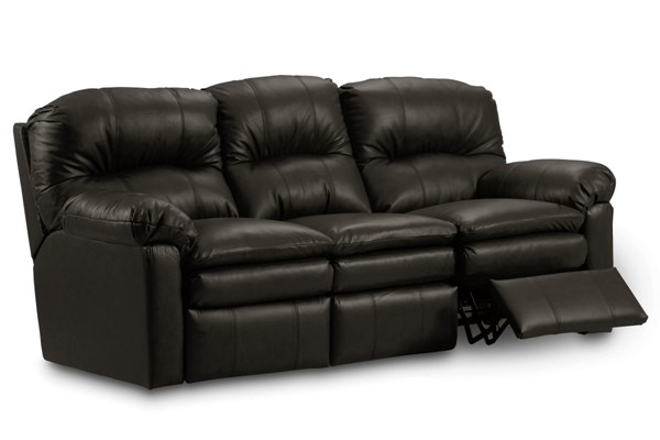 Touchdown Transitional Black Leather Power Double Reclining Sofa LNF-292-59-5101-20