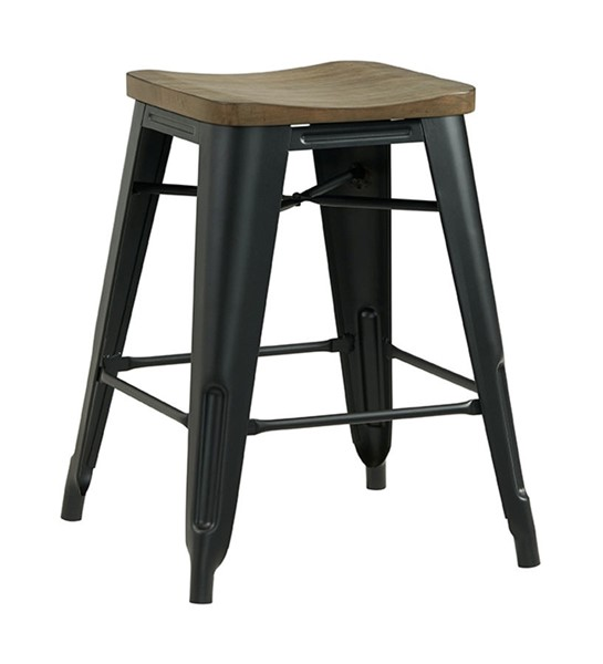2 Lane Furniture Dark Brown Wood Metal Backless Stools LNF-5047-56
