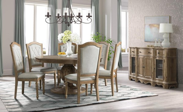 Lane Furniture Urban Charm Wheat 7pc Round Dining Table Set With Upholstered Chair