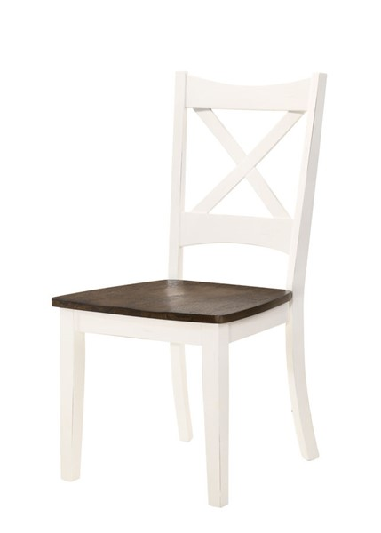 2 Lane Furniture Lexington White Dark Brown Solid Wood Dining Chairs LNF-5115-52-2