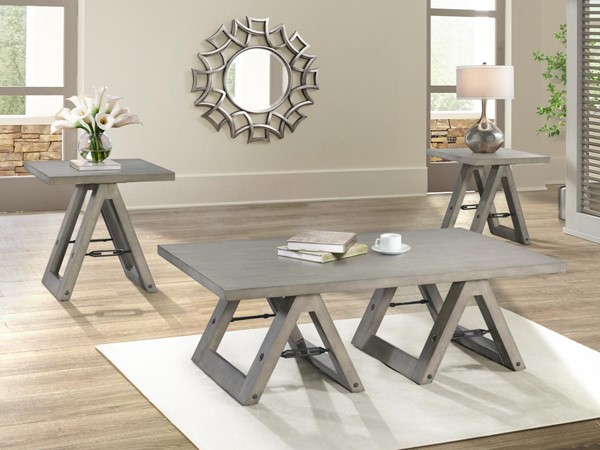 Lane Furniture Weather Grey 3pc Coffee Table Set LNF-7592-OCT-S1