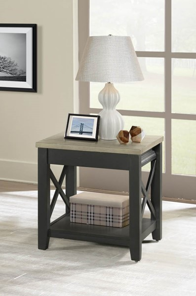 Lane Furniture Grey Black Wood End Table LNF-7610-47
