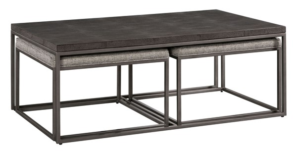 Lane Furniture Charcoal Wood Gunmetal Cocktail Table with Nesting Ottomans LNF-7638-45