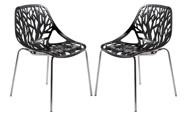 Design Edge Coledale 2  Black Chromed Legs Dining Chairs DE-22365972