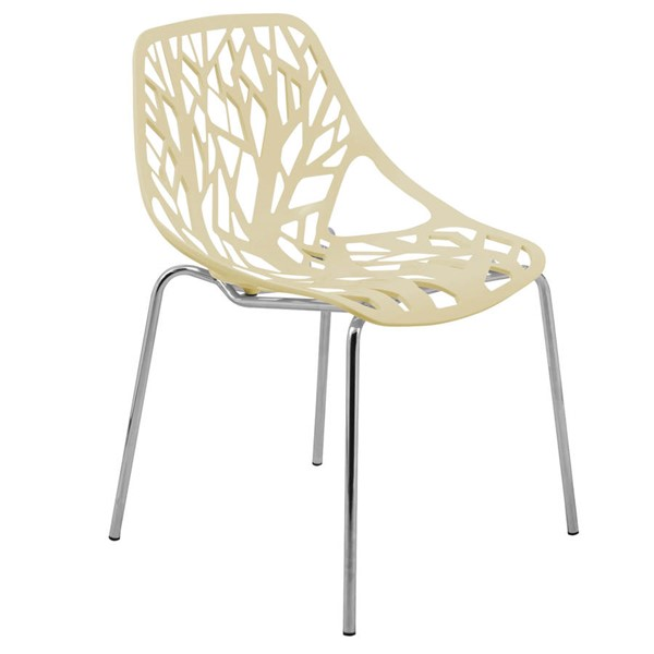 LeisureMod Asbury Cream Dining Chair with Chromed Legs LSM-AC16CR