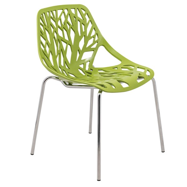 Design Edge Coledale  Green Dining Chair with Chromed Legs DE-22365872