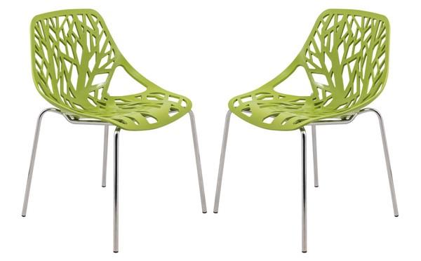 Design Edge Coledale 2  Green Chromed Legs Dining Chairs DE-22365962