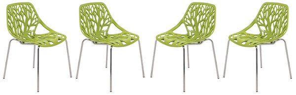 Design Edge Coledale 4  Green Chromed Legs Dining Chairs DE-22366052