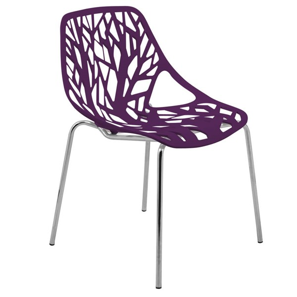 LeisureMod Asbury Purple Plastic Dining Chair With Chromed Legs LSM-AC16PR