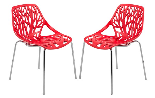 Design Edge Coledale 2  Red Chromed Legs Dining Chairs DE-22365992