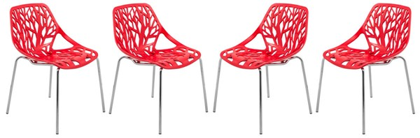Design Edge Coledale 4  Red Chromed Legs Dining Chairs DE-22366072
