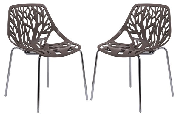 Design Edge Coledale 2  Taupe Chromed Legs Dining Chairs DE-22366022
