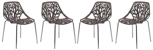 Design Edge Coledale 4  Taupe Chromed Legs Dining Chairs DE-22366112