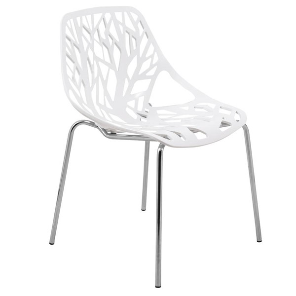 LeisureMod Asbury White Dining Chair with Chromed Legs LSM-AC16W