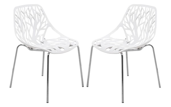Design Edge Coledale 2  White Chromed Legs Dining Chairs DE-22365952