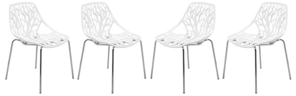 4 LeisureMod Asbury White Chromed Legs Dining Chairs LSM-AC16W4