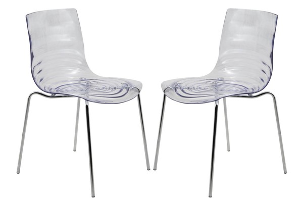 2 LeisureMod Astor Clear Plastic Dining Chairs LSM-AC20CL2