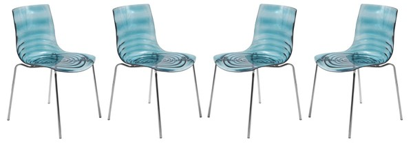Design Edge Condobolin 4  Transparent Blue Plastic Dining Chairs DE-22366395