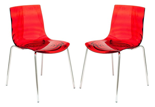 2 LeisureMod Astor Transparent Red Plastic Dining Chairs LSM-AC20TR2