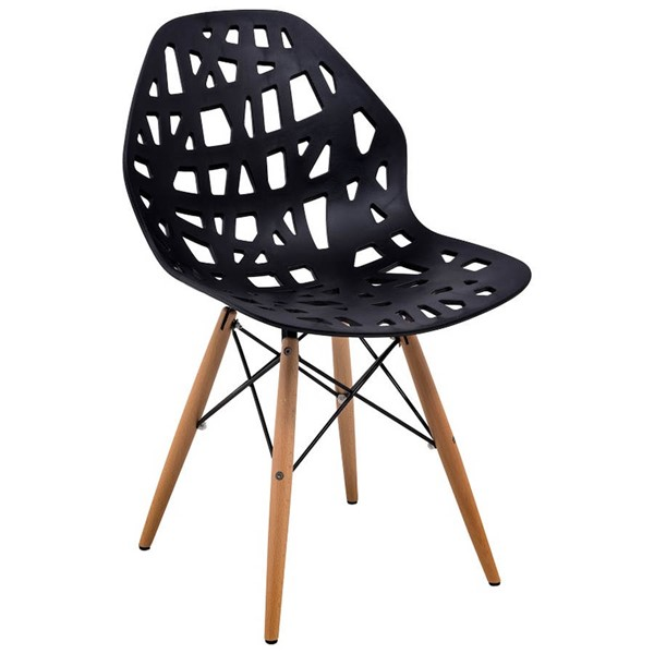 Design Edge Buronga  Black Side Chair with Wood Dowel Legs DE-22365344