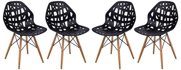 Design Edge Buronga 4  Black Side Chairs with Wood Dowel Legs DE-22365464