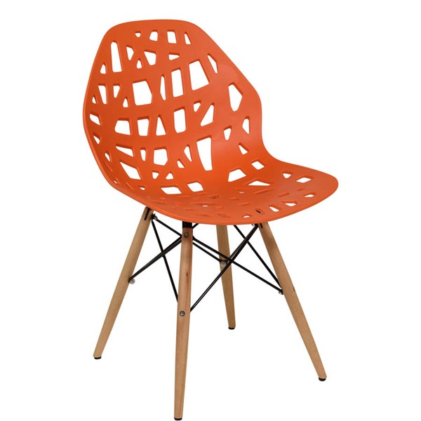 Design Edge Buronga  Orange Side Chair with Wood Dowel Legs DE-22365354
