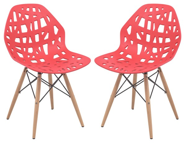 Design Edge Buronga 2  Red Side Chairs with Wood Dowel Legs DE-22365384