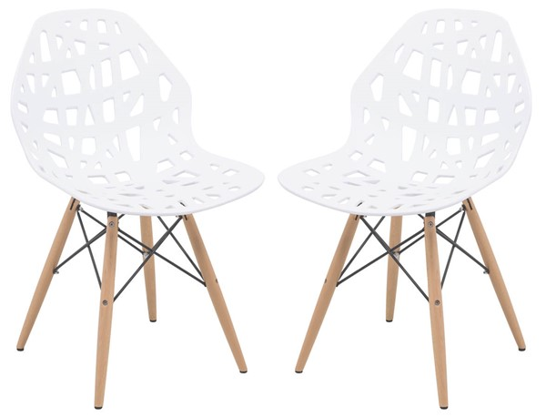 2 LeisureMod Akron White Side Chairs with Wood Dowel Legs LSM-AK19W2